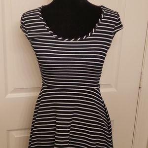 Blue nautical striped dress cap sleeve small
